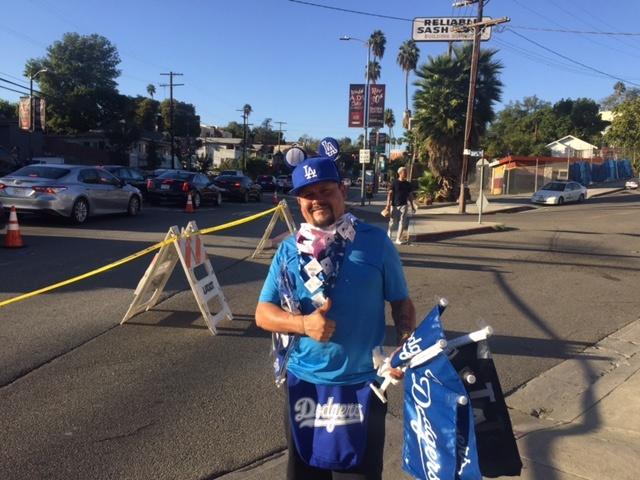 Felipe Nava sold Dodgers merchandise before Game 1 of the 2017 World Series.