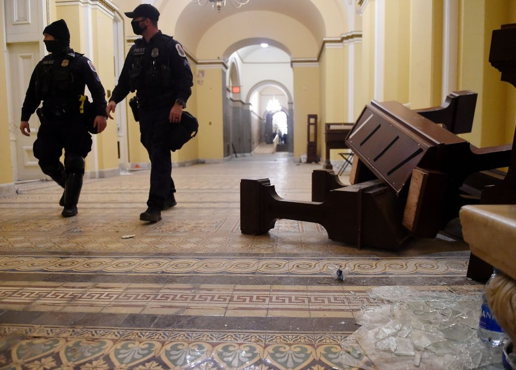 Damage is seen inside the US Capitol building early on January 7, 2021 in Washington, DC, after supporters of US President Donald Trump breeched security and entered the building during a session of Congress.