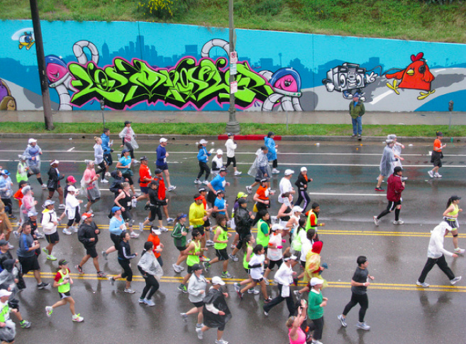 la marathon in the rain los angeles 2011