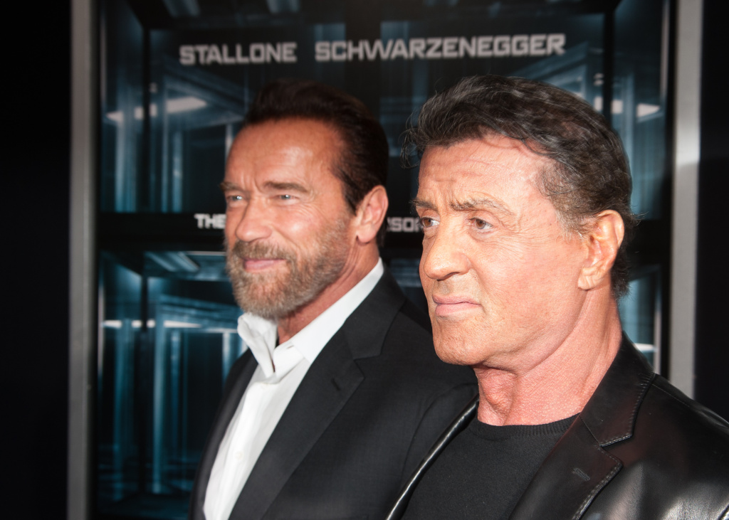 Actor Arnold Schwarzenegger and Sylvester Stallone attend