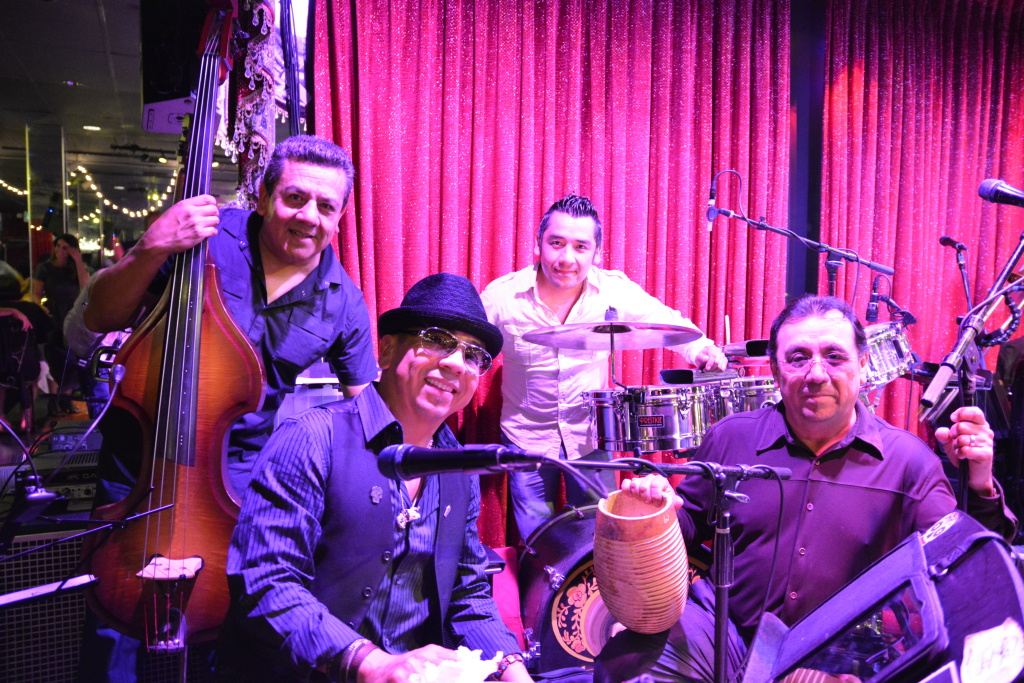 The band of brothers at El Floridita. From left to right: Julian, Alfredo, George, and Eddie Ortiz.