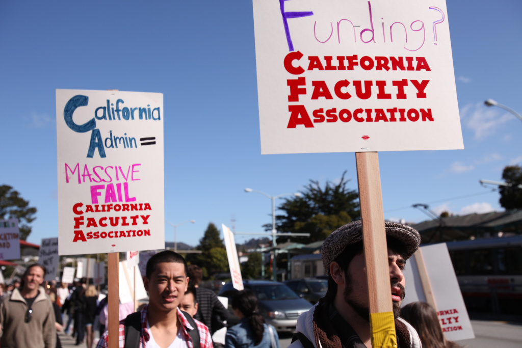 Members of the California Faculty Association at a protest last year. California State University employees have overwhelmingly voted to authorize a series of two-day strikes if a new contract cannot be reached.