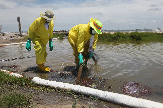 Workers are seen as they use a vacuum hose to capture some of the oil washing on to Fourchon Beach from the Deepwater Horizon oil spill in the Gulf of Mexico on June 28, 2010 in Port Fourchon, Louisiana.