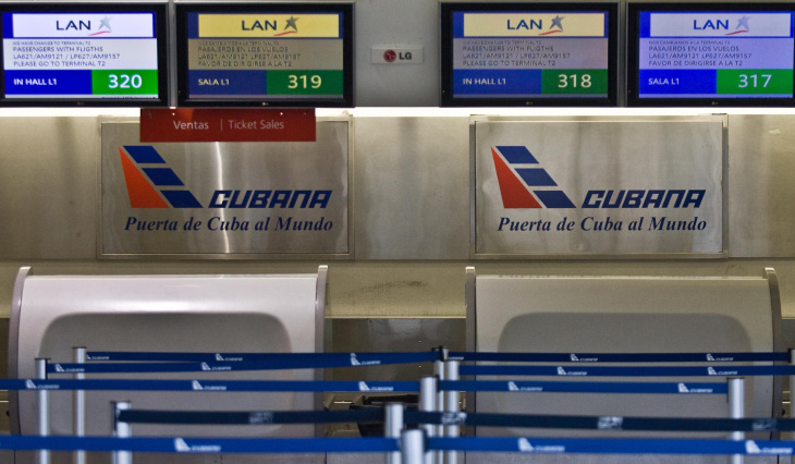 View of the empty check-in desk of Cuban