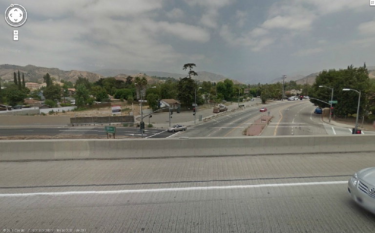 A google maps screenshot of the 210 overpass, overlooking Foothill Boulevard. Both were closed after a parole agent was shot in Lake View Terrace Wednesday.
