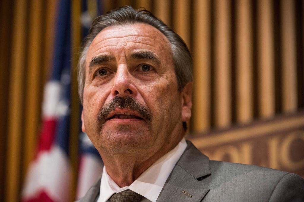 Los Angeles Police Department Chief Charlie Beck speaks at a media briefing.
