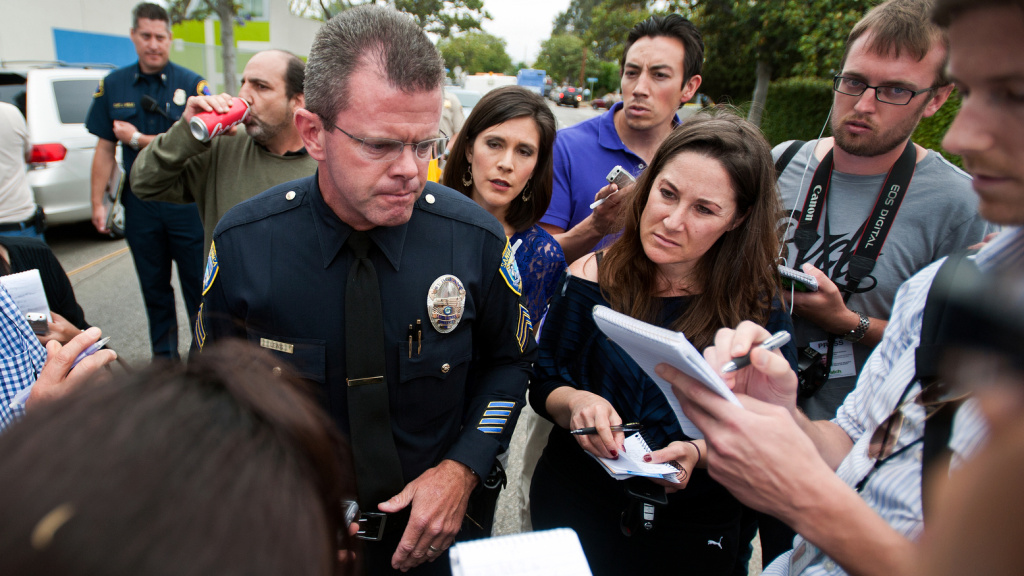 Richard Lewis of the Santa Monica Police Department speaks to the media during a press conference on June 7, 2015 after a shooting on the Santa Monica College campus. Police shot and killed the gunman.