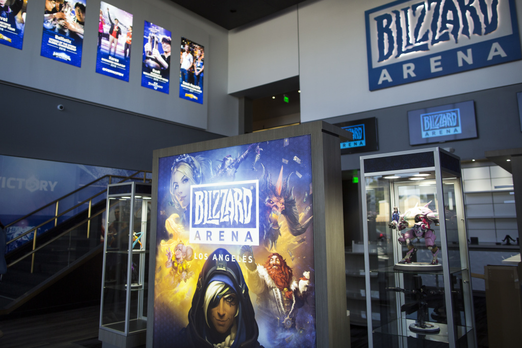 The main entryway and lobby at Blizzard Arena has a merchandise story for fans. The store has a rotating selection of gear and goods based on the event taking place at the time.