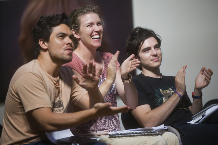 Joan Scheckel tangoes as part of a beat exercise during the final day of her three-day filmmaking lab inside her Hollywood studio on Sunday, May 3, 2015.
