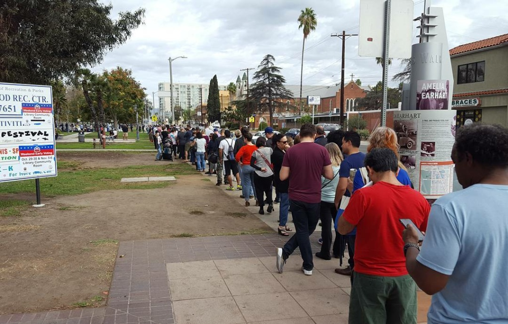 Voters line up at the North Hollywood Regional Library on Saturday, October 29, 2016 as early voting begins.