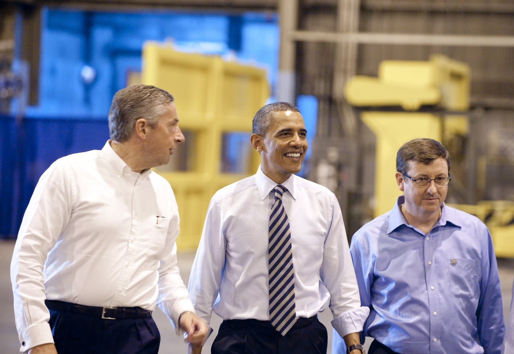 US President Barack Obama tours Alcoa Davenport Works Factory in Iowa.