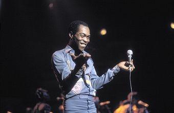 Fela Kuti performing live onstage.