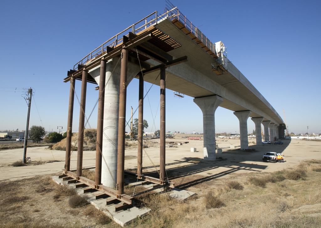 In this Wednesday, Dec. 6, 2017 file photo, is one of the elevated sections of the high-speed rail under construction in Fresno.