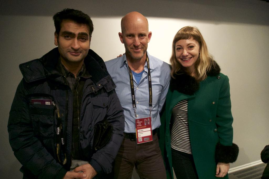 Kumail Nanjiani, Frame host John Horn and Emily V. Gordon at Sundance 2017.