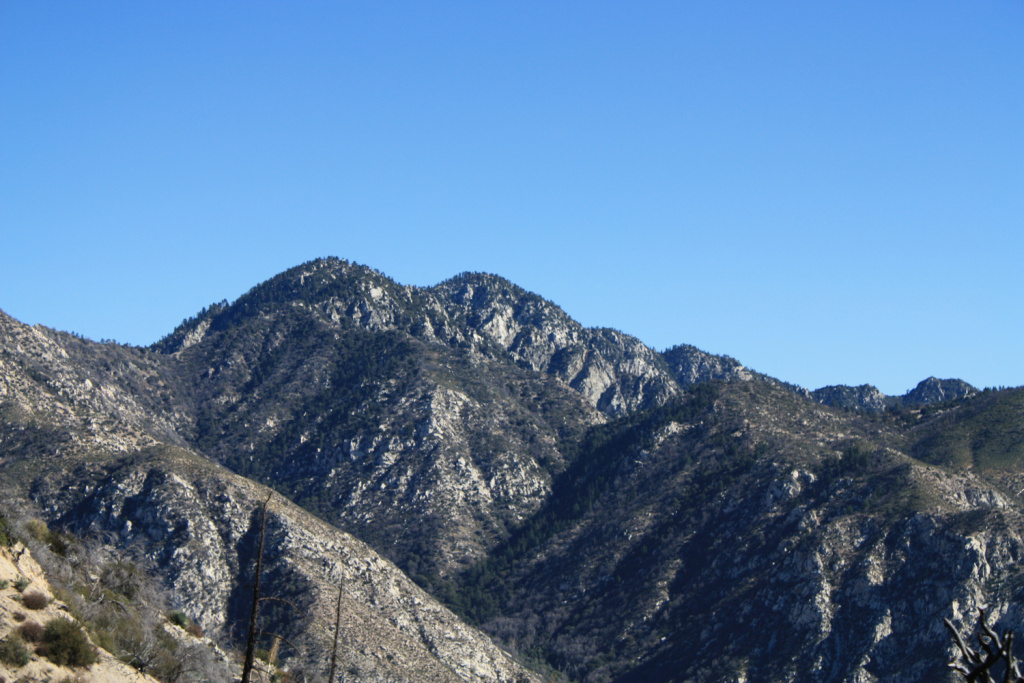 The tops of Twin Peaks in the San Gabriel Mountains.