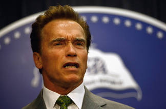 File photo of California Governor Arnold Schwarzenegger holding a press conference on July 2, 2009 in Los Angeles, California.