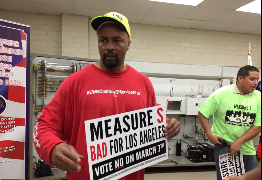 Charles Slay, a second-year electrician's apprentice, predicts the passage of Measure S would destroy the livelihood for thousands of construction workers.