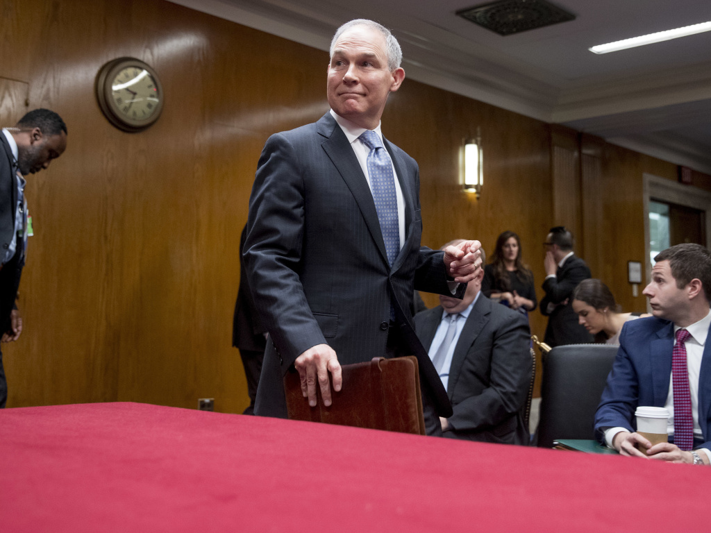 Scott Pruitt, administrator of the Environmental Protection Agency, arrives for his testimony Wednesday before a Senate Appropriations subcommittee.