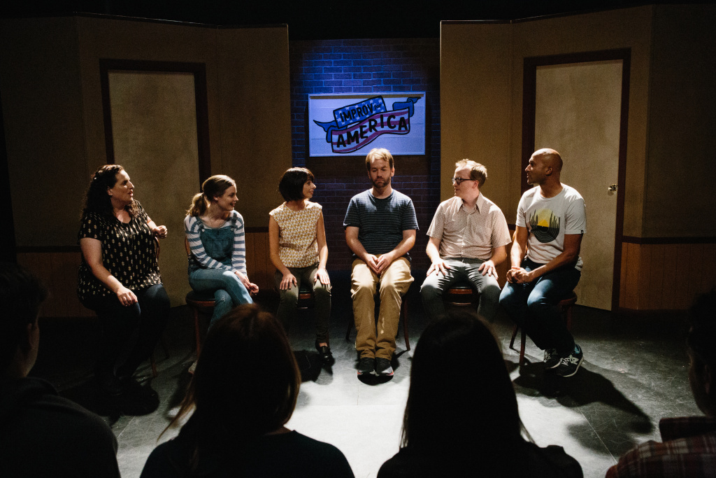 (L-R) Tami Sagher (Lindsay), Gillian Jacobs (Samantha), Kate Micucci (Allison), Mike Birbiglia (Miles), Chris Gethard (Bill), Keegan-Michael Key (Jack) in Mike Birbiglia's