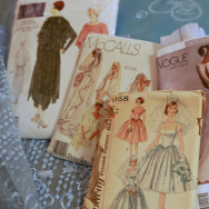 Taylor Orci's vintage pattersn - she's sewing the wedding dress on the right.