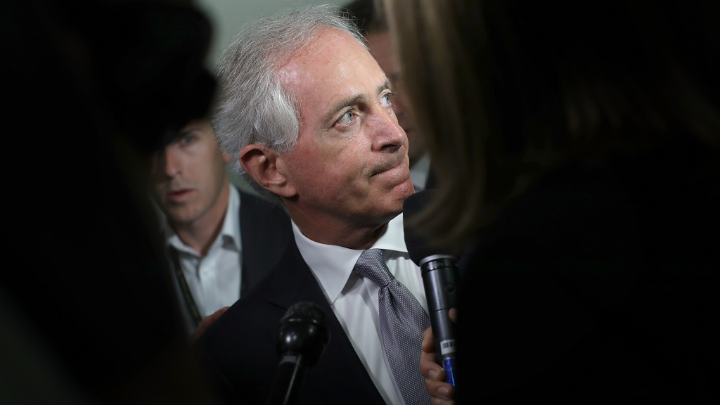 Sen. Bob Corker, R-Tenn., speaks to reporters on Capitol Hill about President Trump on Tuesday morning, ahead of Trump's visit with GOP senators.