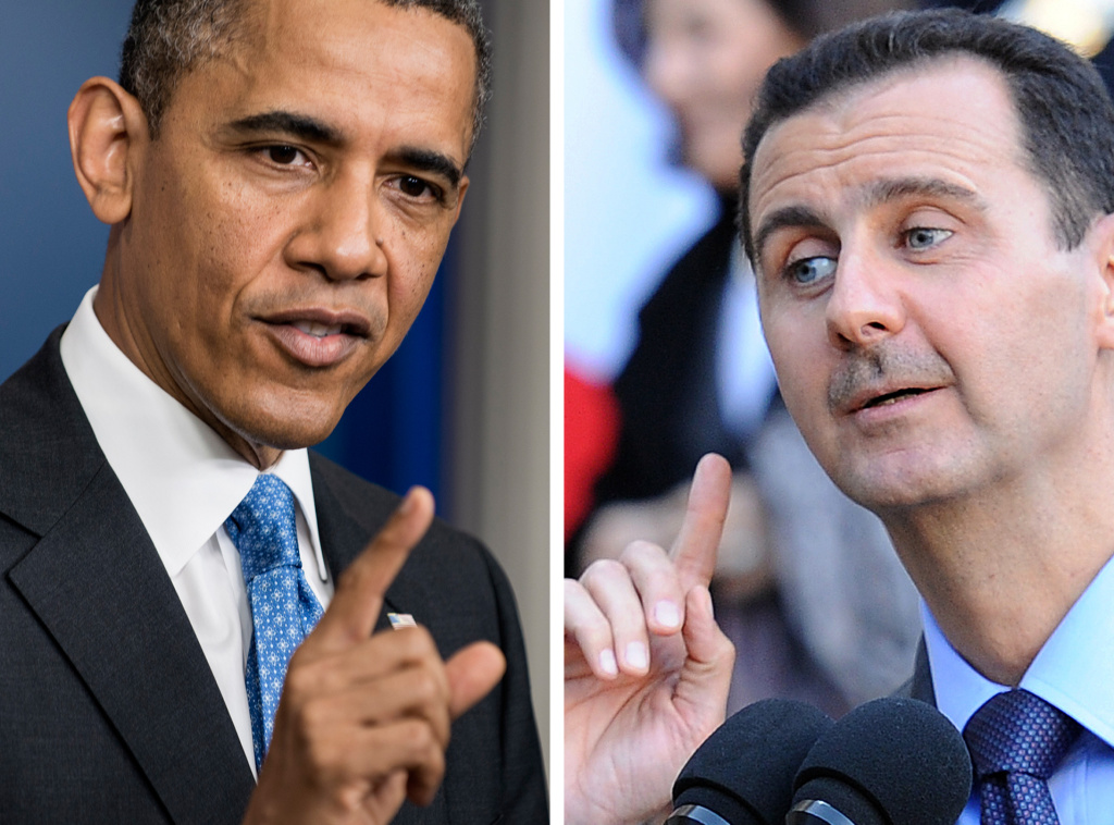 A combination of two file pictures made on August 31, 2013 shows US President Barack Obama (L) speaking to journalists on April 30, 2013 in Washington and Syrian President Bashar al-Assad speaking to journalists on December 9, 2010 in Paris.