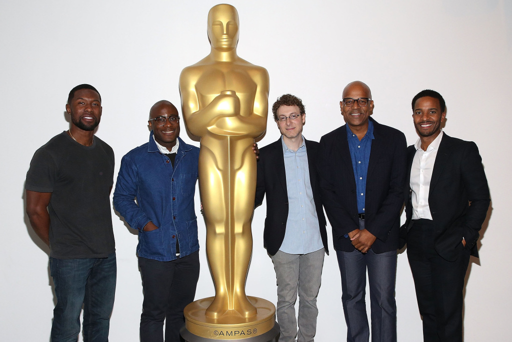 NEW YORK, NY - OCTOBER 20:  Trevante Rhodes, Barry Jenkins, Nicholas Britell, Patrick Harrison and Andre Holland attend The Academy of Motion Picture Arts and Sciences hosts an Official Academy screening of MOONLIGHT at MOMA on October 20, 2016 in New York City.
