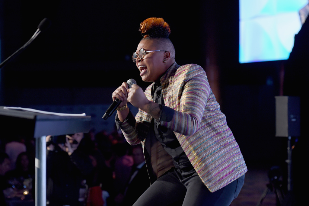 Spoken word artist Charity Blackwell onstage at the 38th Annual Salute To Women in Sports Awards Gala on October 18, 2017 in New York City.
