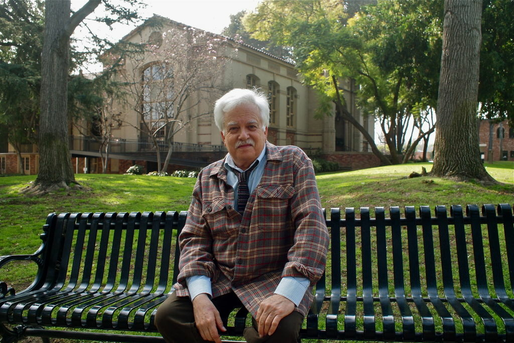 Van Dyke Parks in front of South Pasadena's library