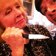 """Piper Laurie re-enacts """"Carrie"""" with Off-Ramp host John Rabe."""