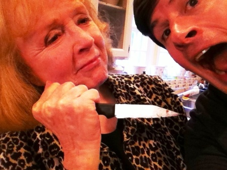 """Piper Laurie re-enacts """"Carrie"""" with Off-Ramp host John Rabe"""