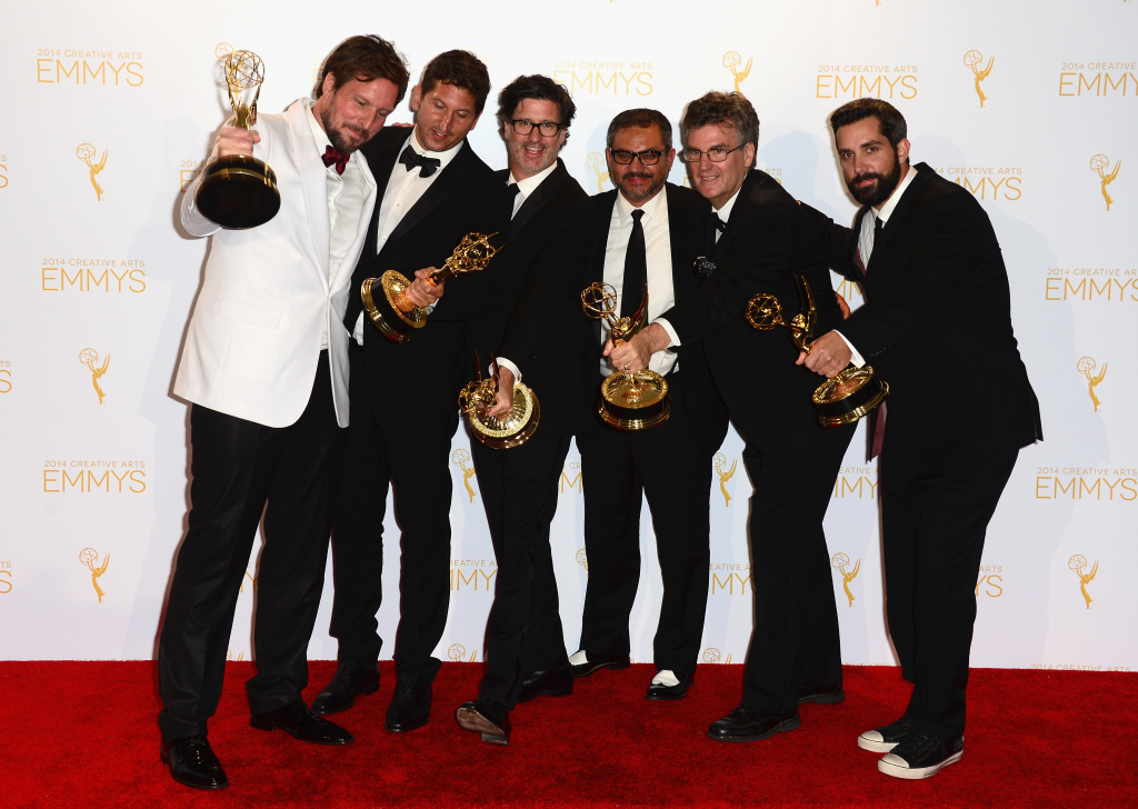 Producers of Discovery Channel's Deadliest Catch pose in the press room during the 2014 Creative Arts Emmy Awards at Nokia Theatre L.A. Live on August 16, 2014 in Los Angeles, California.