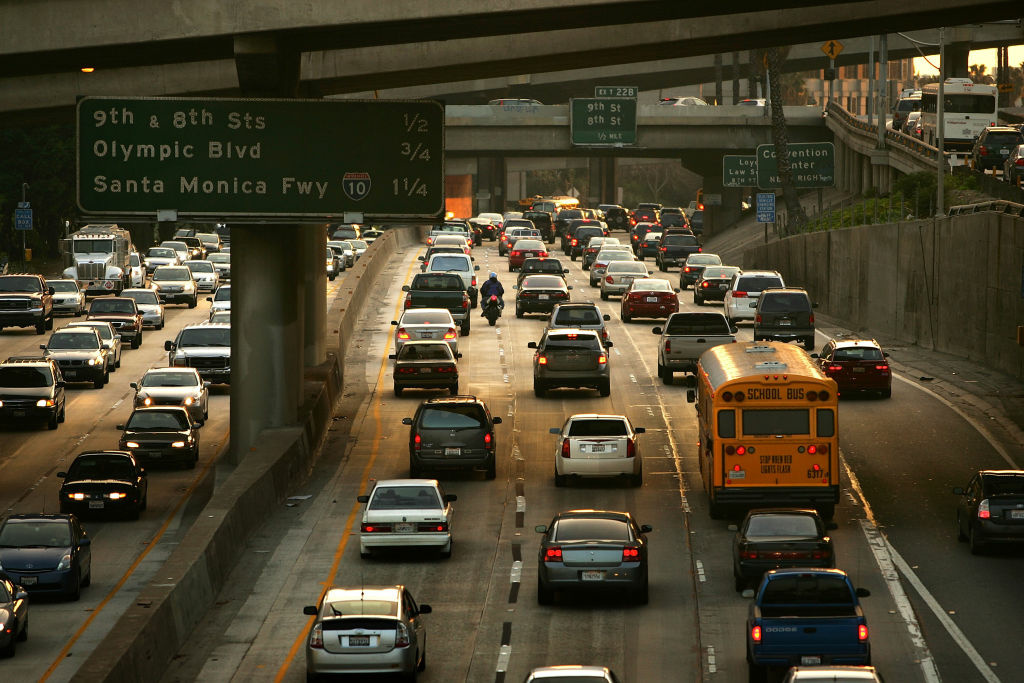 File: Drivers fill the 110 freeway during afternoon rush-hour on January 9, 2008 in Los Angeles, California.