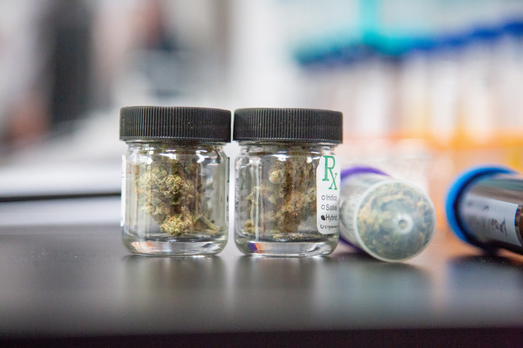 Jars of marijuana sit on a lab bench in the Cannalysis Laboratory in Santa Ana, California, June 20, 2018.