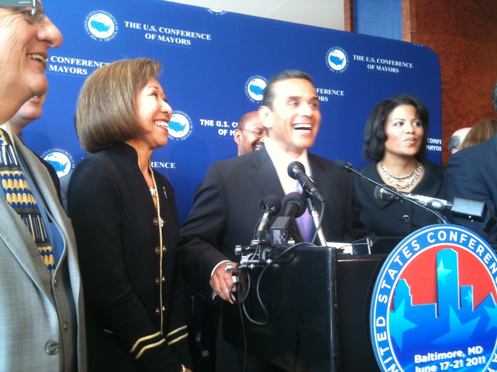 Incoming president of the U.S. Conference of Mayors, Los Angeles Mayor Antonio Villaraigosa