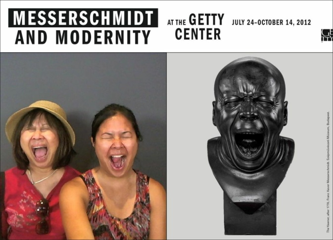 The Messerschmidt and Modernity souvenir. Jenna Villacarlos and Mimi Villacarlos do their best to mimic The Yawner, part of the Getty Museum's Expression Lab.
