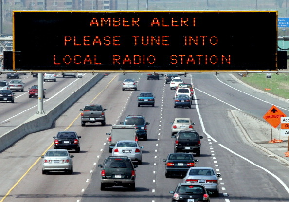An Amber Alert road sign; these electronic signs aren't being activated in this case due to the lack of a license plate.