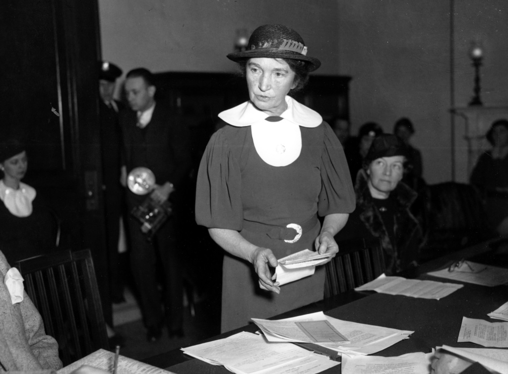 In this March 1, 1934 file photo, Margaret Sanger, who founded the American Birth Control League in 1921, speaks before a Senate committee to advocate for federal birth-control legislation in Washington. Sanger's legal appeals eventually prompted federal courts to grant physicians the right to give advice about birth-control methods. Sanger founded two organizations that later merged to form the Planned Parenthood Federation of America.