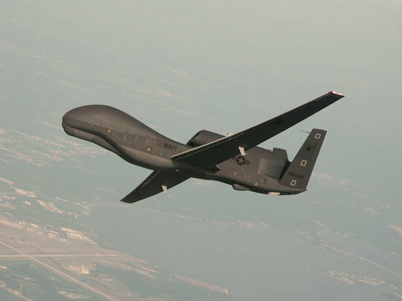 An RQ-4 Global Hawk drone conducting tests in Maryland in a U.S. Navy handout from 2017. On Thursday, Iran's Revolutionary Guard says it shot down a similar drone in southern Iran.