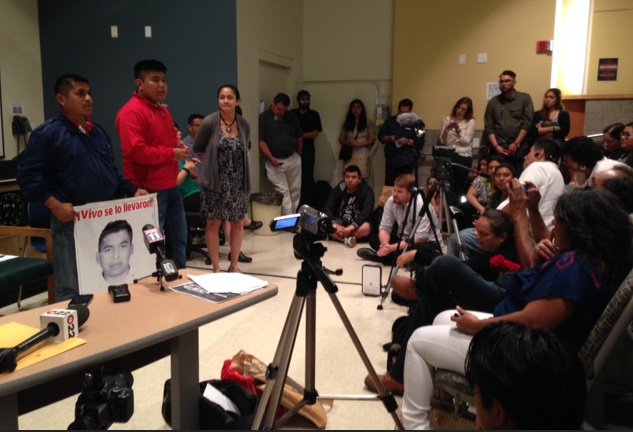 Angel Neri de La Cruz, center, describes to an audience at Cal State Northridge what he witnessed the night fellow that fellow students from his teacher training college went missing in the Mexican city of Iguala, last September 26.