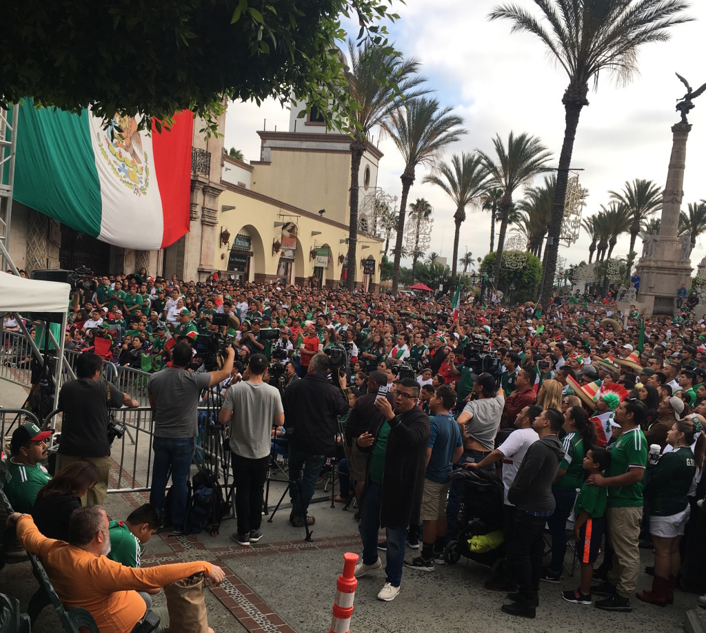 Fans of Mexico's national soccer team gather at Plaza Mexico in Lynwood to view the match against Brazil July 2, 2018. Mexico lost, 2-0.