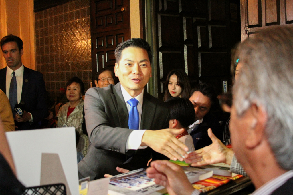 Candidate Robert Lee Ahn arrives to an enthusiastic crowd at La Fonda de Los Camperos on June 6, 2017, in Los Angeles, California. He lost the race for the 34th Congressional District seat to Jimmy Gomez.