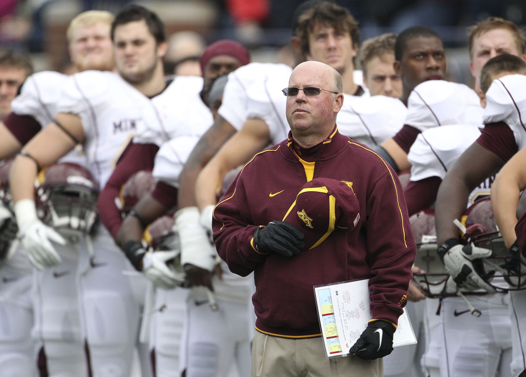 Head coach Jerry Kill of the Minnesota Golden Gophers stands on the sidelines before the game against the Michigan Wolverines at Michigan Stadium on October 1, 2011 in Ann Arbor, Michigan.