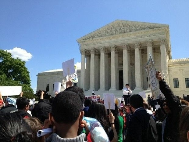 The crowd outside the U.S. Supreme Court building this morning in Washington, D.C., April 25, 2012