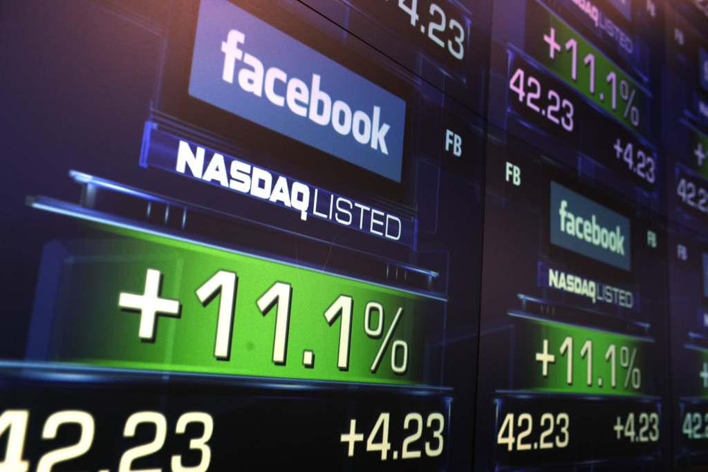 The share price of newly debuted Facebook stock is seen at the Nasdaq stock market moments after it went public on May 18, 2012. The highly touted IPO for the social network fizzled after some early froth.
