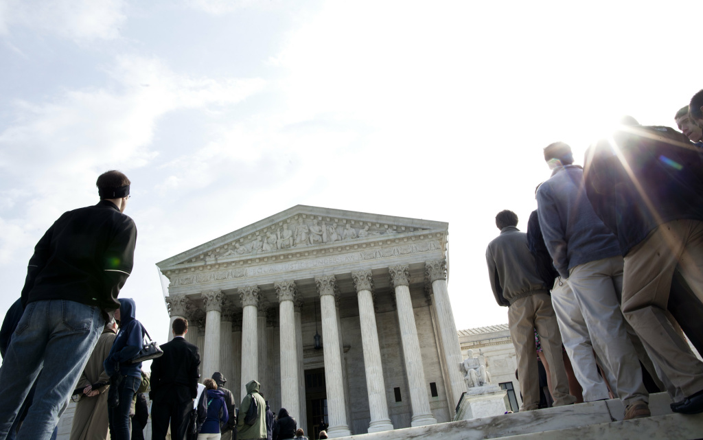 People wait to enter outside the US Supreme Court March 21, 2011 in Washington, D.C.