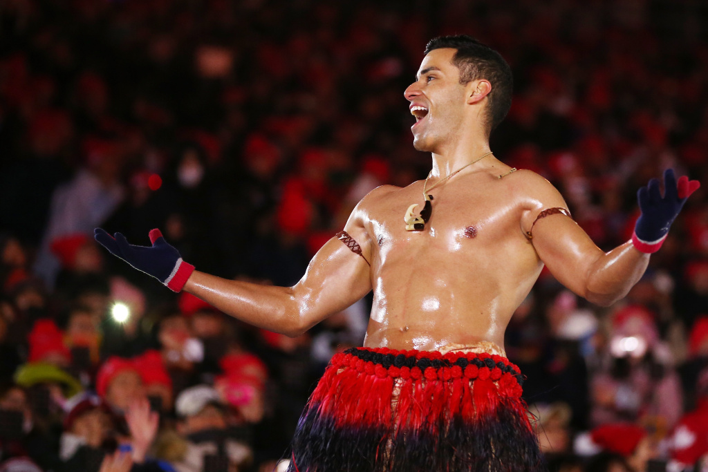 Pita Taufatofua of Tonga stands on stage during the Closing Ceremony of the Pyeongchang 2018 Winter Olympic Games on February 25, 2018 in Pyeongchang, South Korea.