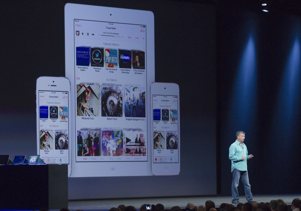Apple's Eddy Cue,Apple senior vice president of internet software and services,  introduces the new iRadio at a keynote address during the 2013 Apple WWDC at the Moscone Center on June 10, 2013 in San Francisco, California. Apple introduced a new mobile operatng system iOS 7, hardware upgrades and a new operating system OS X Mavericks during the keynote qaddress. The annual developer conference runs through June 14.