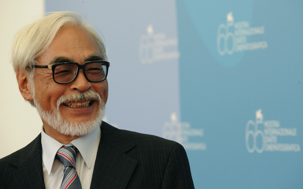 Japan's director Hayao Miyazaki smiles during the photocall of his movie