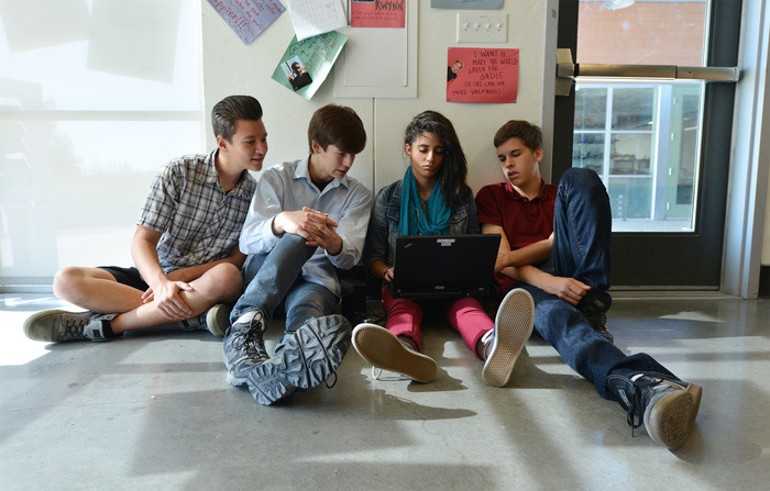 Some of the student filmmakers at High Tech High in Chula Vista, CA, for
